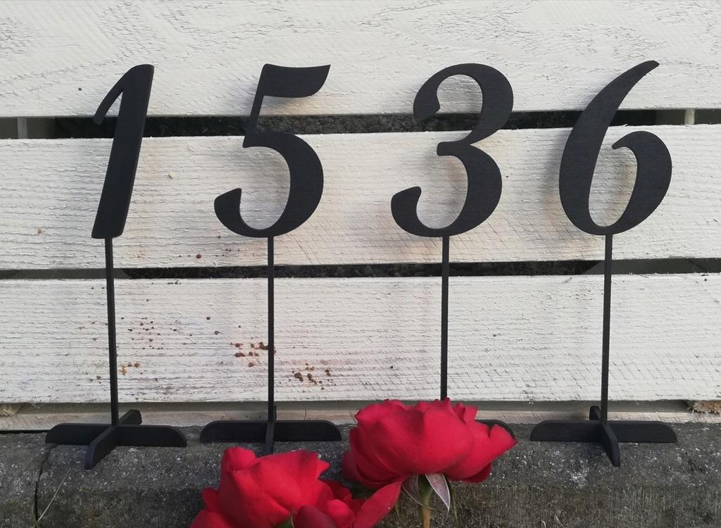 Cyfry numery na stoły 19 cm malowane