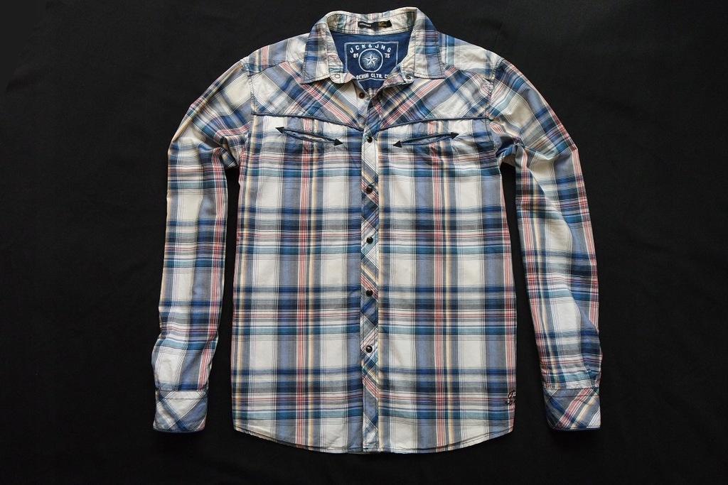 JACK JONES koszula kratka logowana niebieska_____L