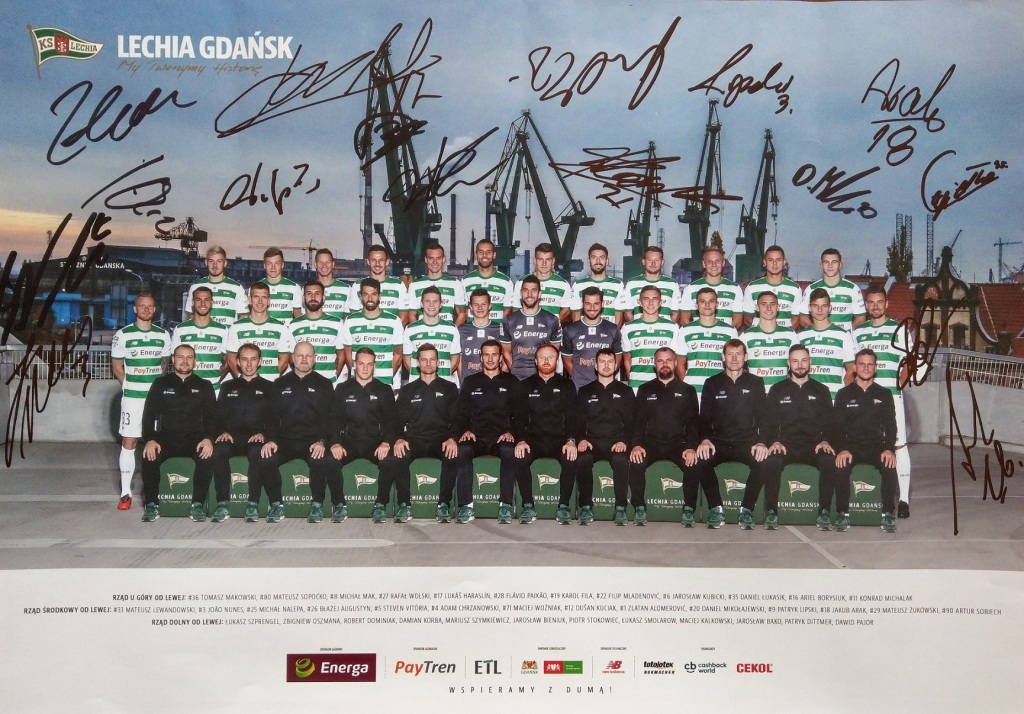 LECHIA GDAŃSK - Plakat z podpisami zawodników