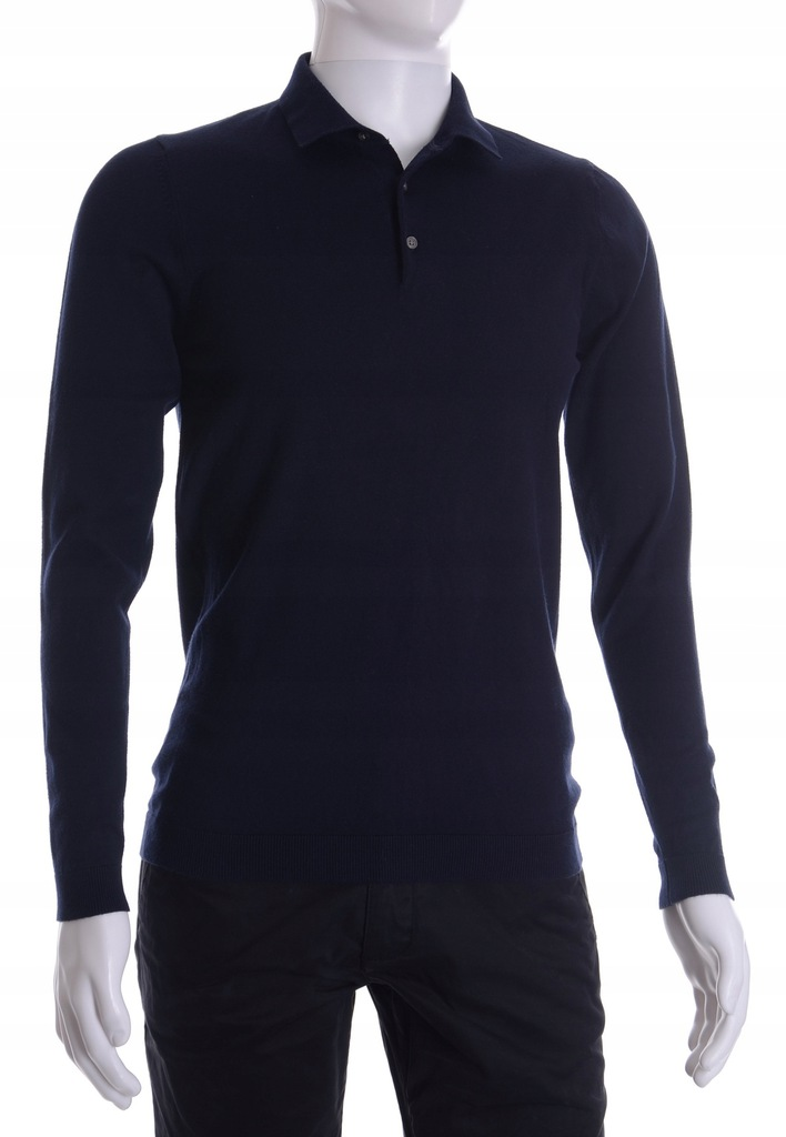 NEXT granatowy sweter męski z kołnierzykiem S