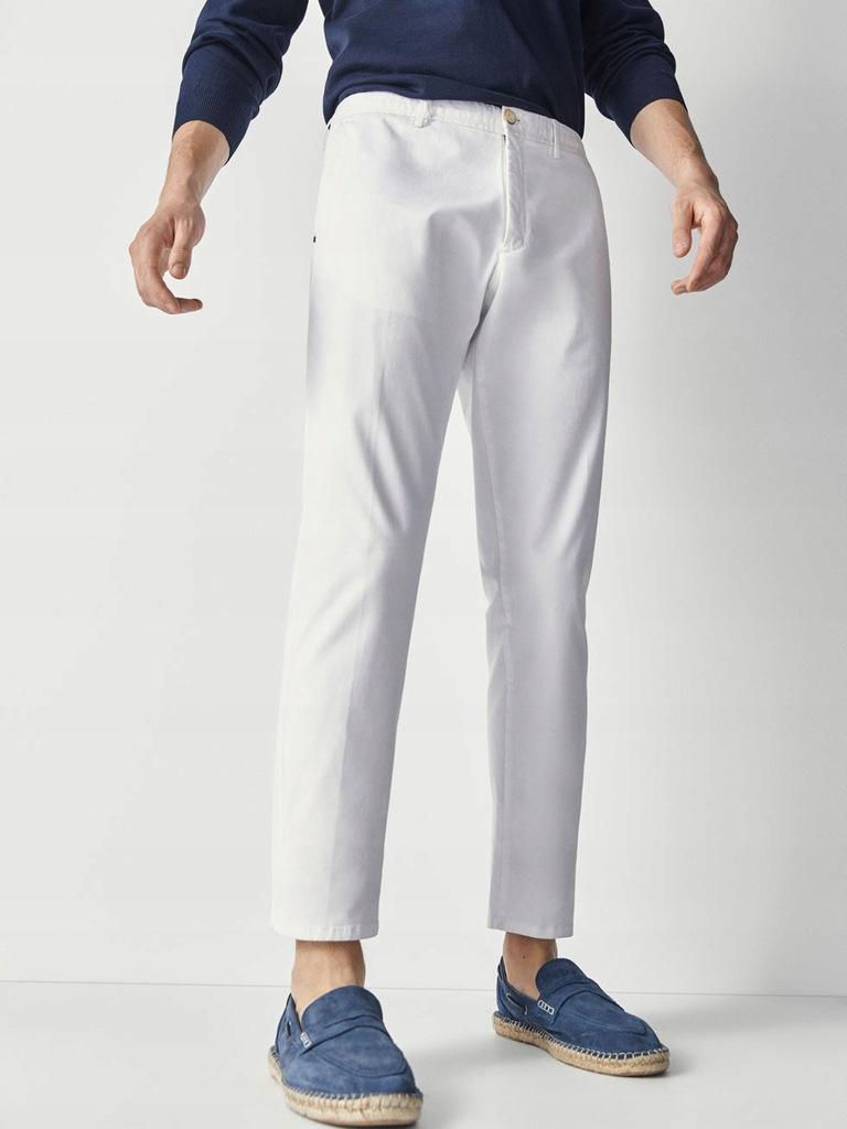 MASSIMO DUTTI białe spodnie chino slim fit 42
