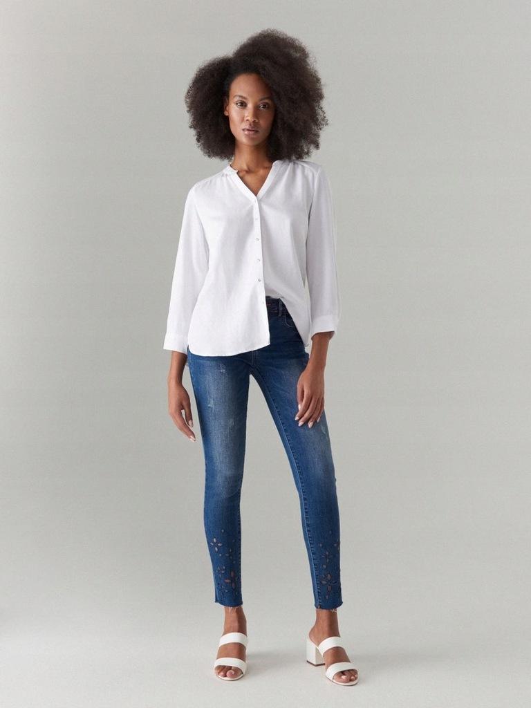 Mohito jeansy skinny,ażurowy wzór Xxs/32