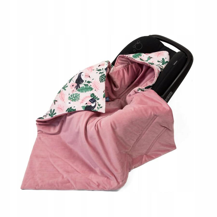 Kocyk LIGHT do fotelika Velvet Tukany Brudny róż