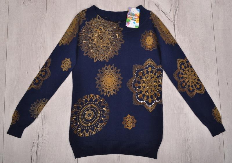 DESIGUAL XL 42 sweter złote muśnięcia