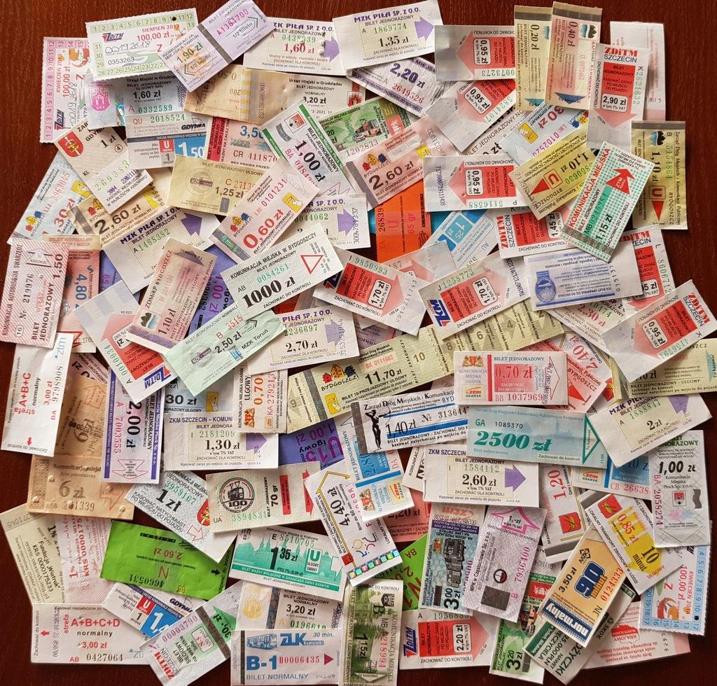 Zestaw 104 biletów komunikacji miejskiej