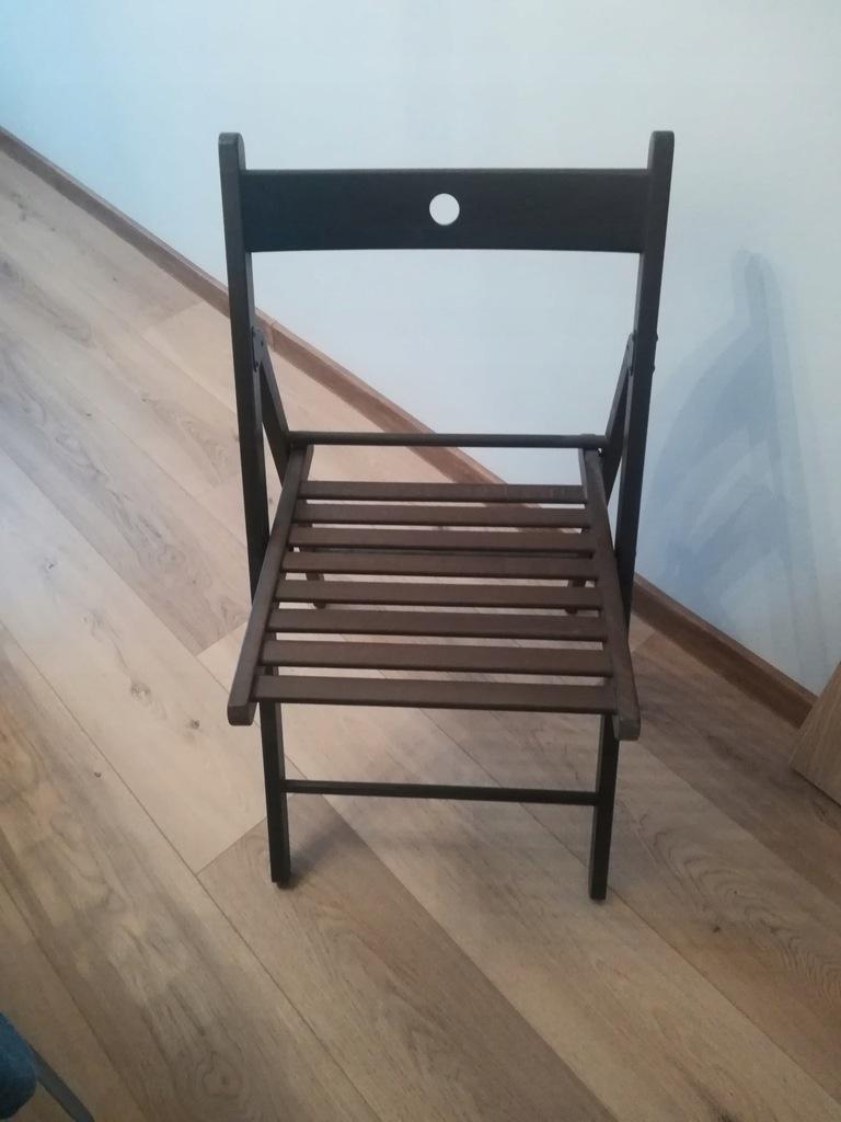 IKEA TERJE drewniane krzesło składane ciemny brąz