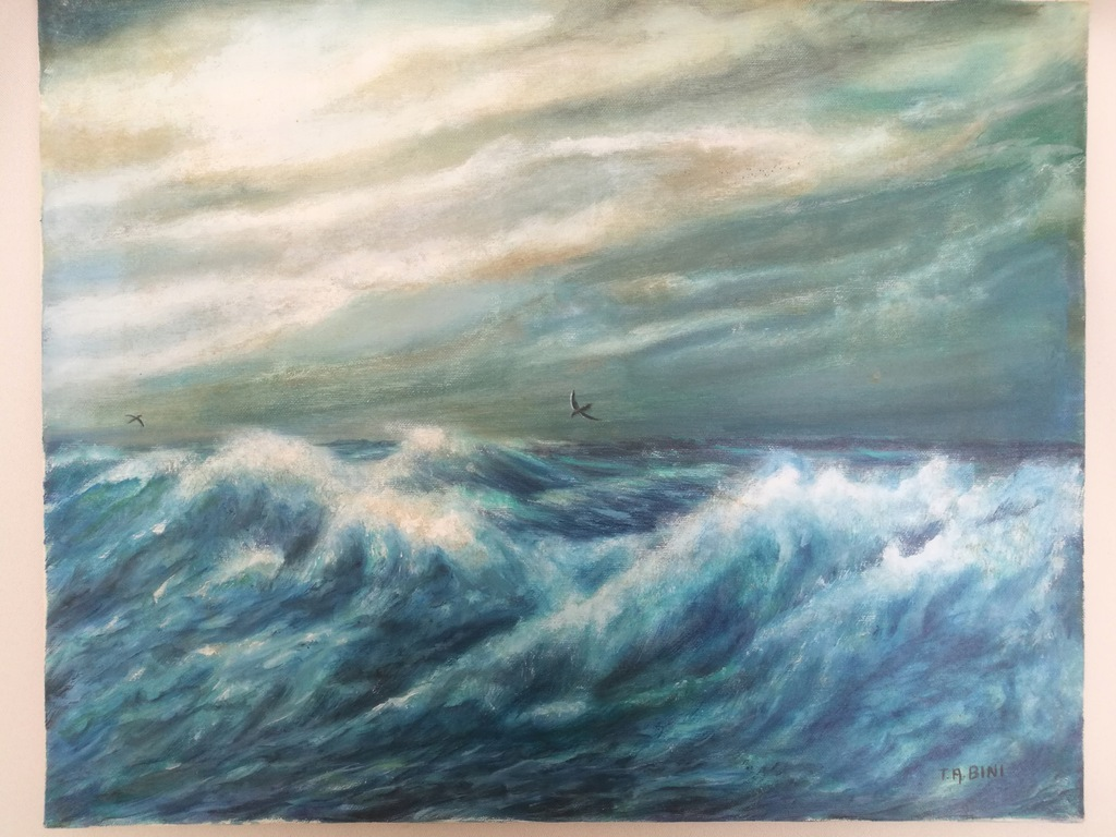 Obraz olejny Oryginał Fale Morze sygnowany Włochy