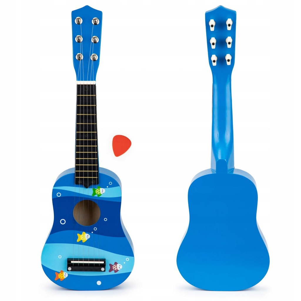 Gitara dla dzieci drewniana metalowe struny kostka