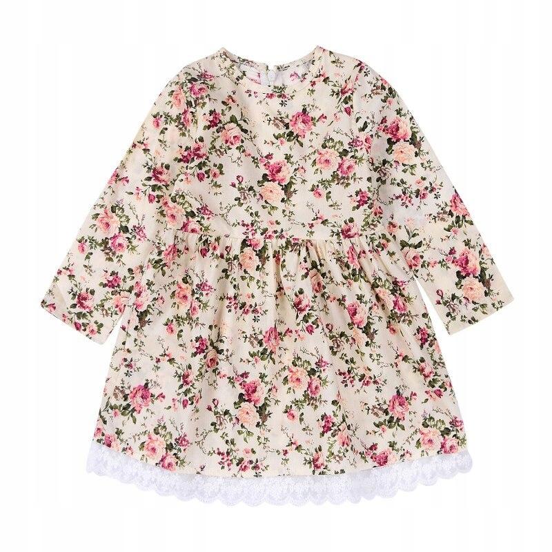 Sukienka 104 płócienna w kwiatki