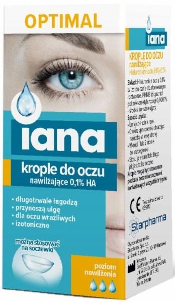 Iana Krople Do Oczu Optimal 0,1% Ha Nawilżające