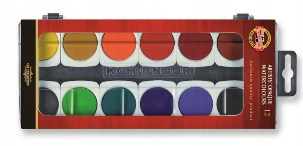 Farby akwarelowe kryjące 12 kolorów akwarele