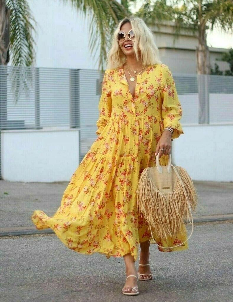 ZARA żółta sukienka w kwiaty falbany M