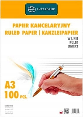 Papier kancelaryjny A3 linia 100ark, Interdruk