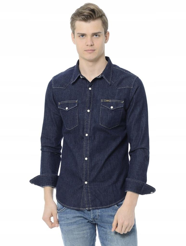 Koszula Lee XL Jeans Jeansowa Guziki Western
