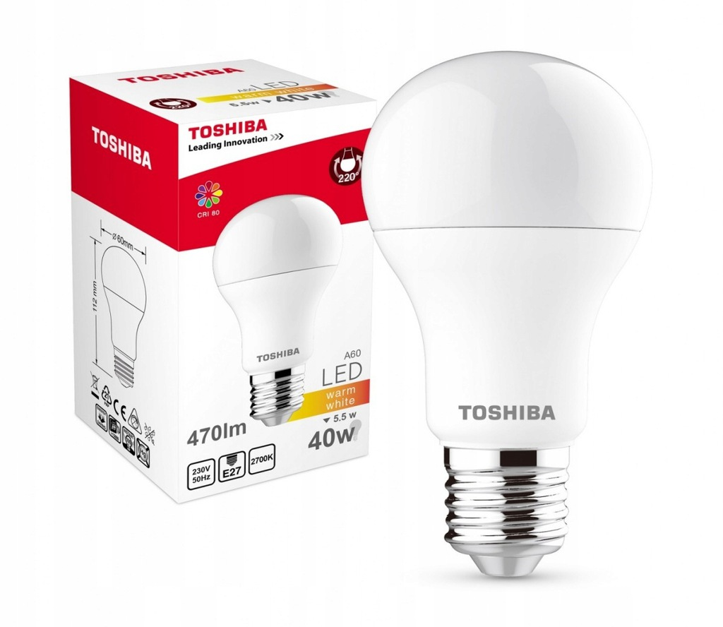TOSHIBA Lampa LED 5,5W 230V 470lm b.ciepły A60