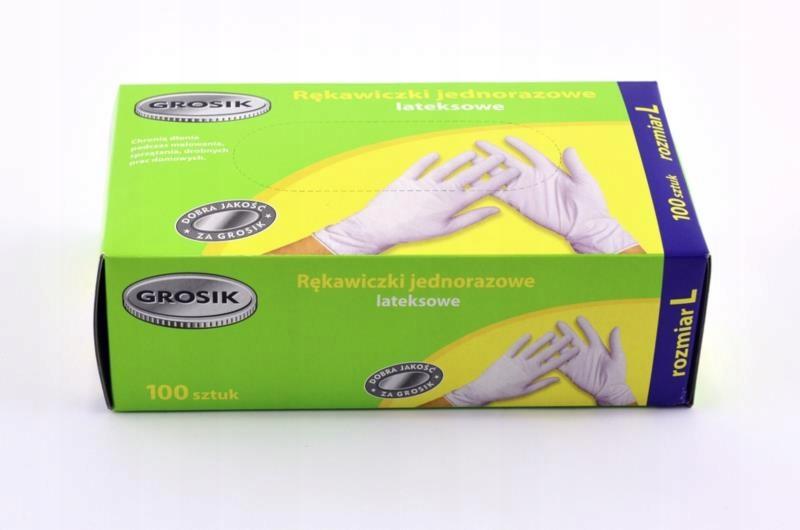 Rękawice Latex L pudełko 100 sztuk