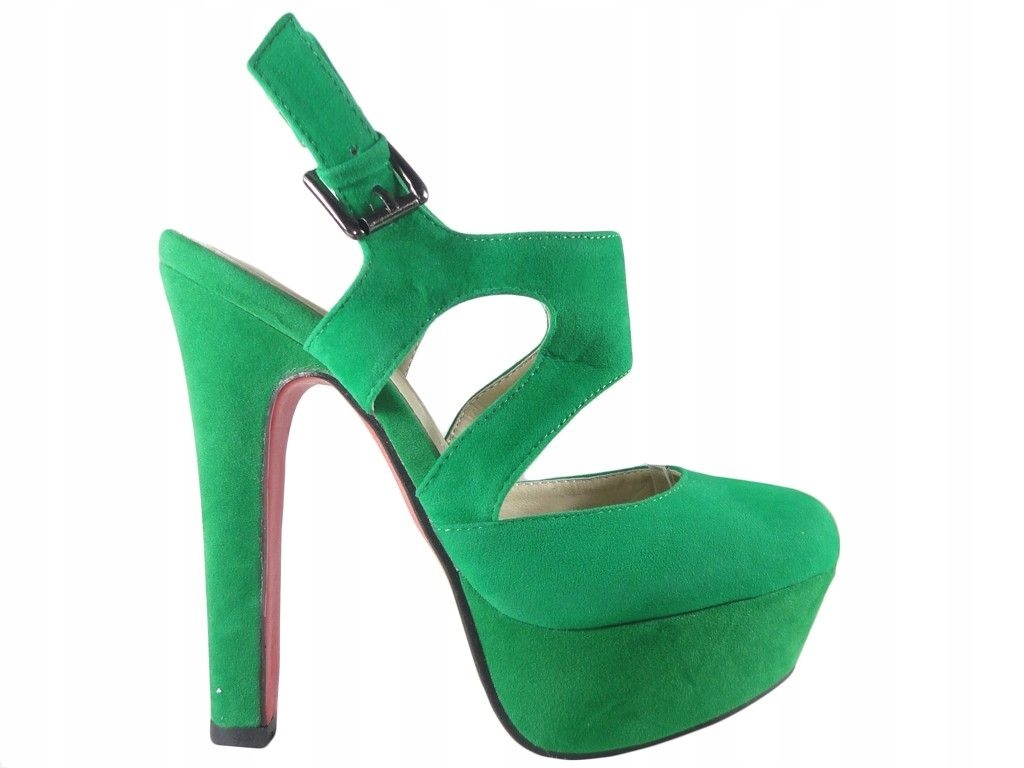 Zielone zamszowe sandały na słupku z paskiem 37