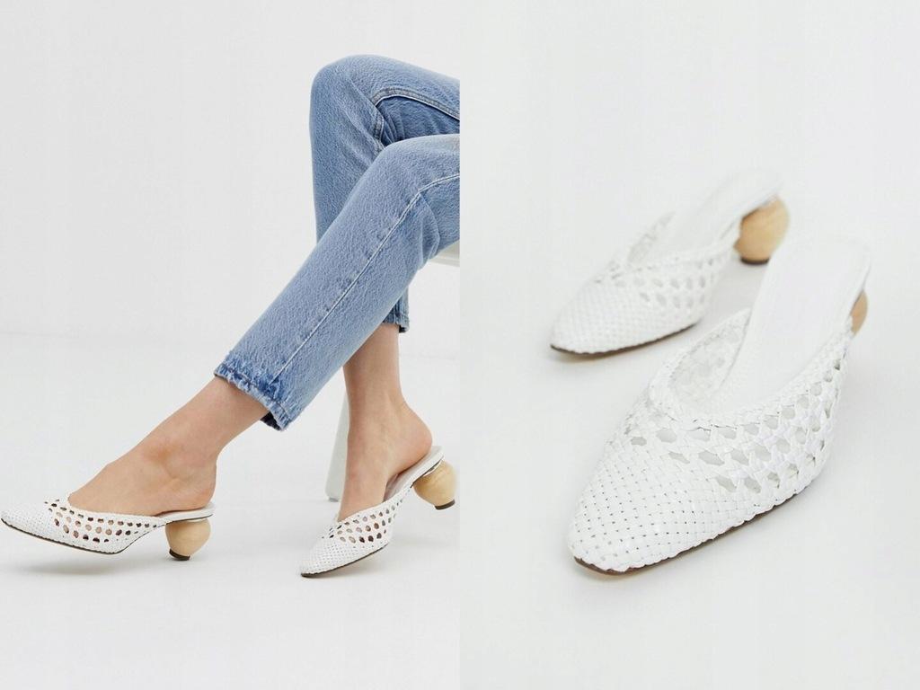 Bershka - Białe buty z okrąłym obcasem 38