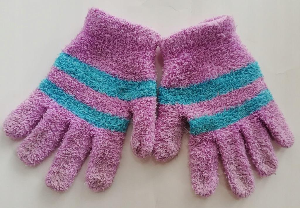 Dziecięce fioletowe rękawiczki - rozmiar 5-8 lat