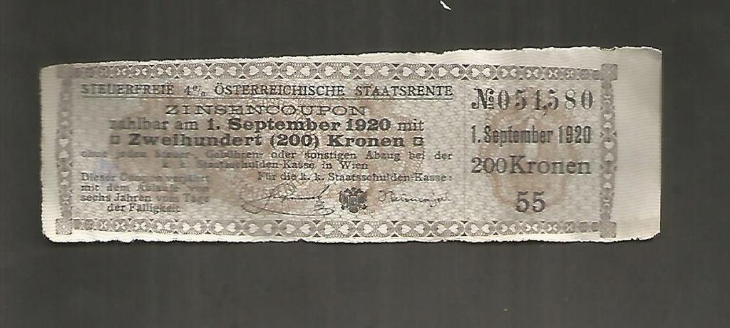 AUSTRIA , kupon odsetkowy 4 % ,1920 r , 200 KRONEN