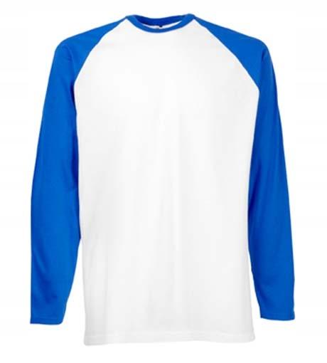 Koszulka FRUIT Baseball Long White/Royal Blue XXL