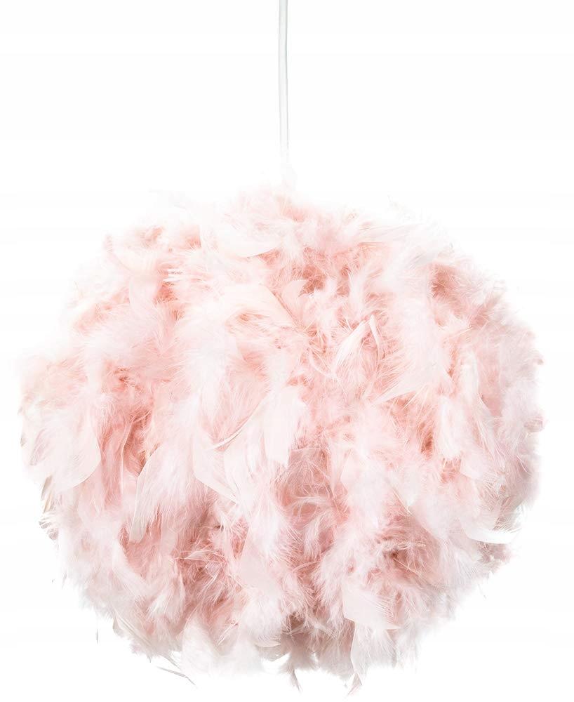 Klosz abażur różowe pióra