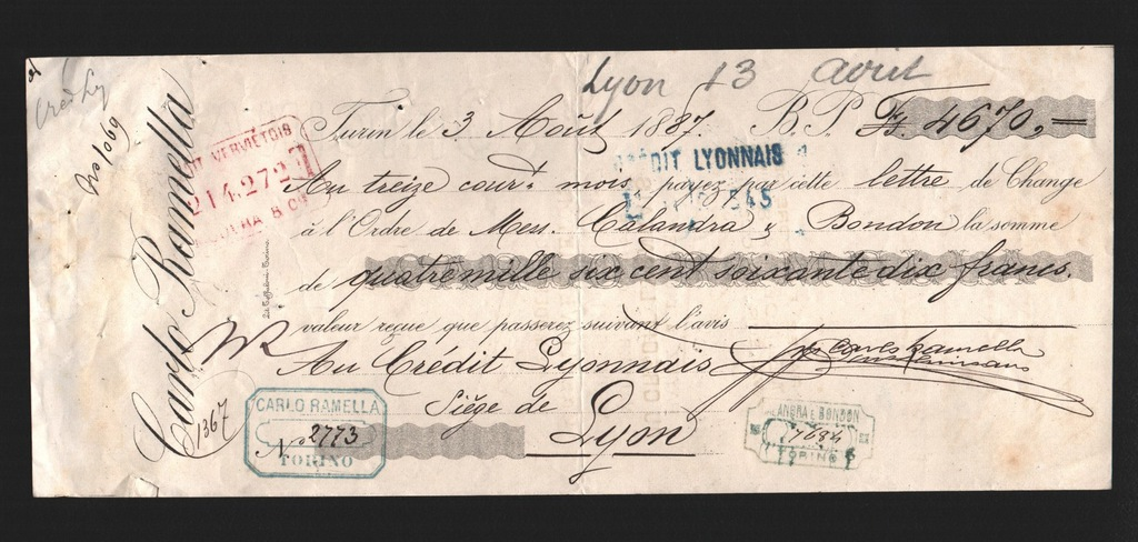 Weksel na 4.670 Fr. 1887 rok.