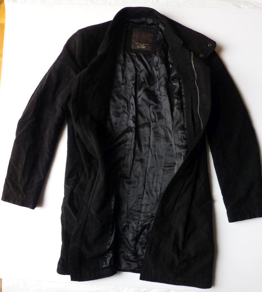 Kurtka płaszcz męski ZARA czarny zamszowy L
