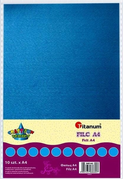 Filc dekoracyjny, 10ark format A4 błękit CRAFT-FUN