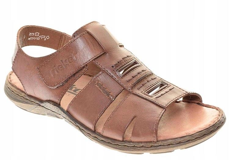 Rieker 22083-25 43 brązowe skórzane sandały męskie