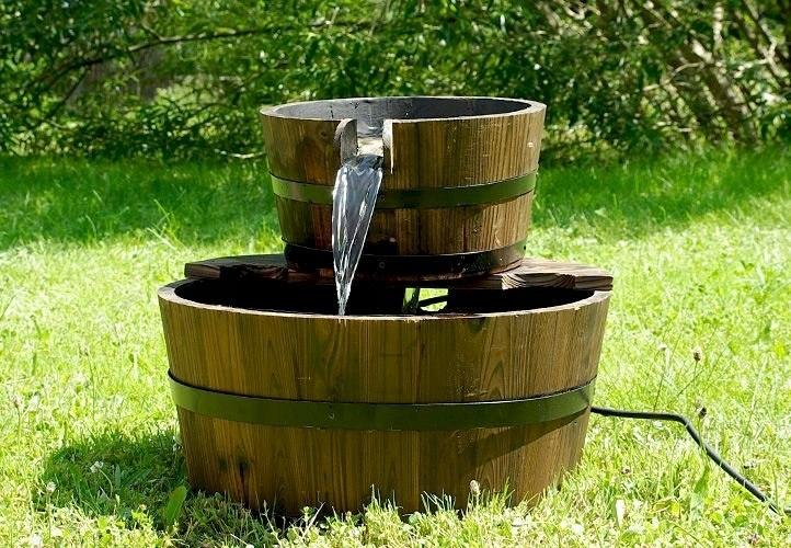 Fontanna ogrodowa kaskadowa 44 cm, drewniane beczk