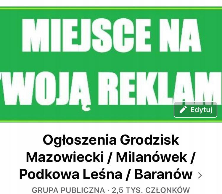 Ogłoszenia Grodzisk Mazowiecki grupa na Facebooku