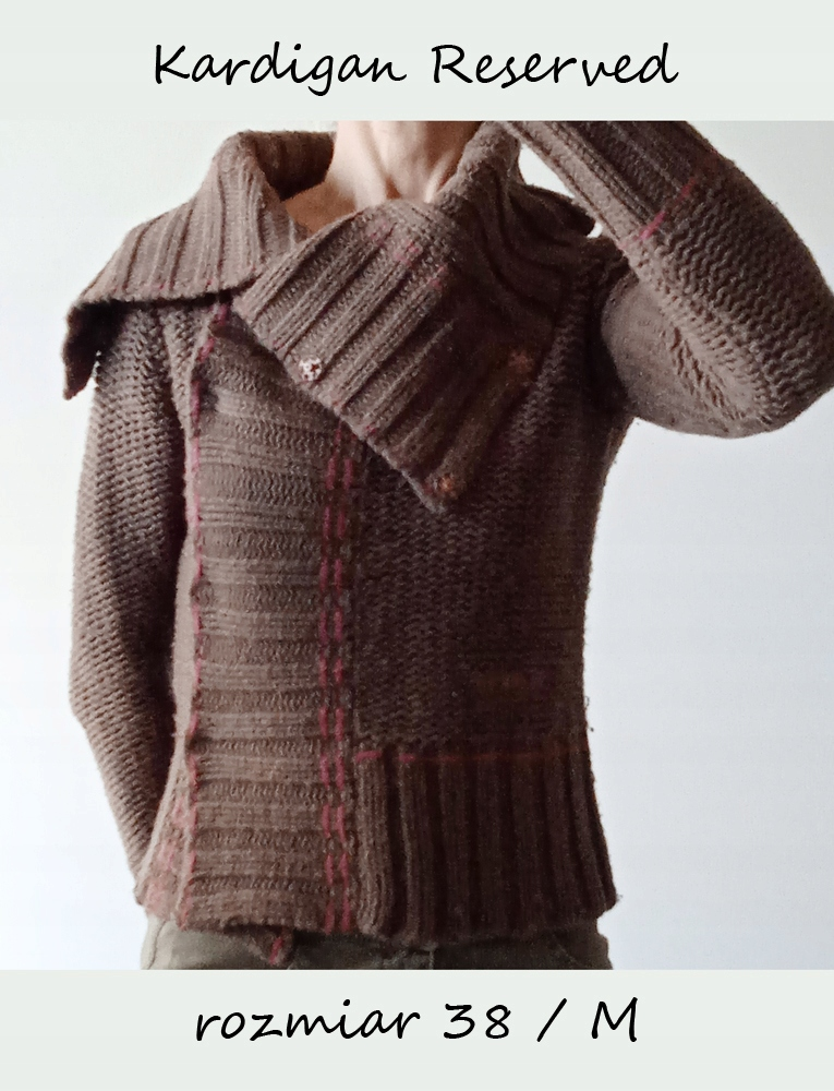 Sweter kardigan damski R 38 / s asymetryczny gruby