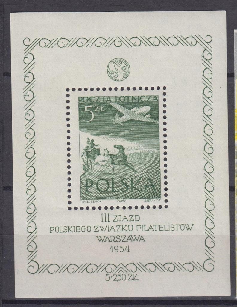 1954r. Fi. blok 13** III Zjazd PZF pełny 57x75mm