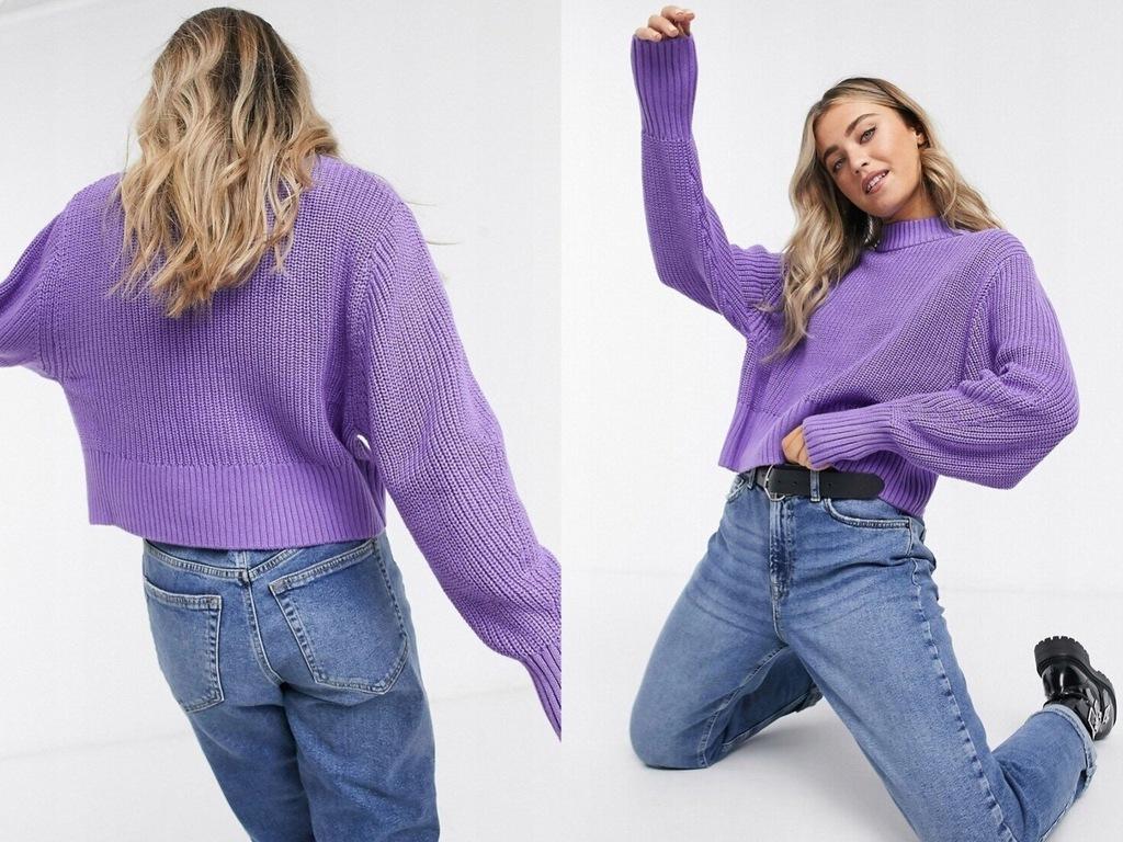 Monki Fioletowy sweter z golfem i długim rękawemXS