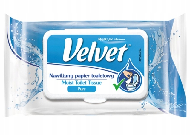 Velvet, Pure, Papier toaletowy, nawilżany, 42 szt