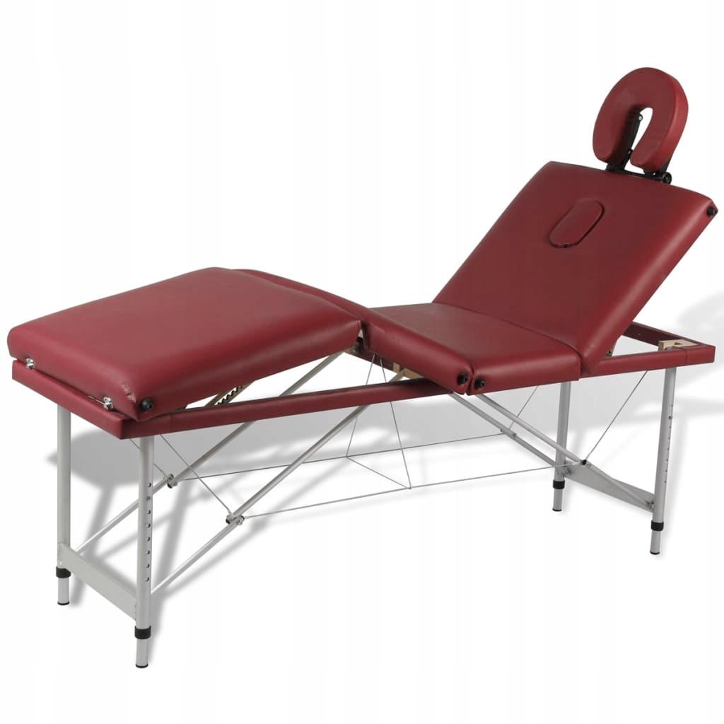 Czerwony składany stół do masażu 4 strefy z alumin