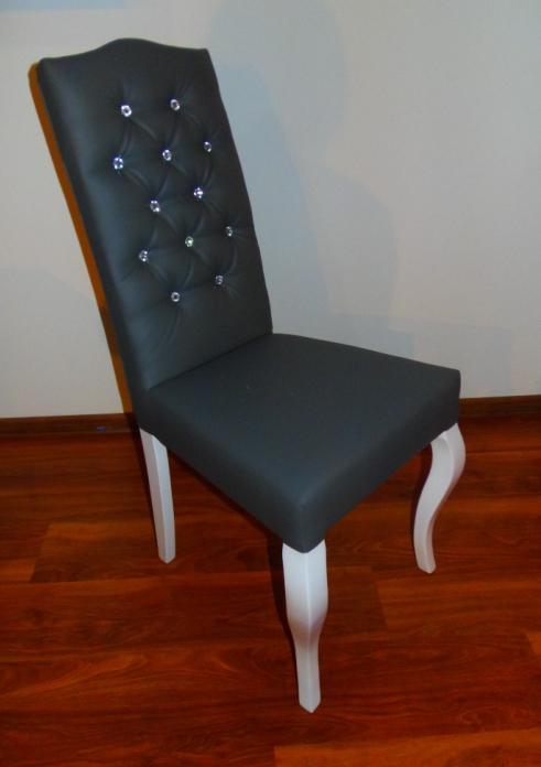 Stylowe Szare Pikowane Krzesło Styl Ludwik 97x46 415 zł