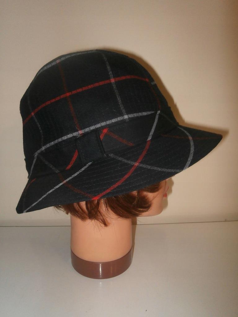 Burberrys' idealny wełniany kapelusz w kratę XL
