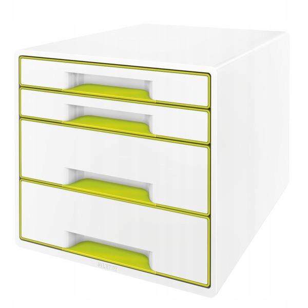 Pojemnik z 4 szufladami LEITZ perłowy, biel zieleń