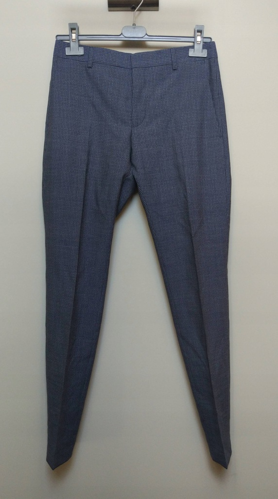 CALVIN KLEIN spodnie na kant pepitka 44 wełna
