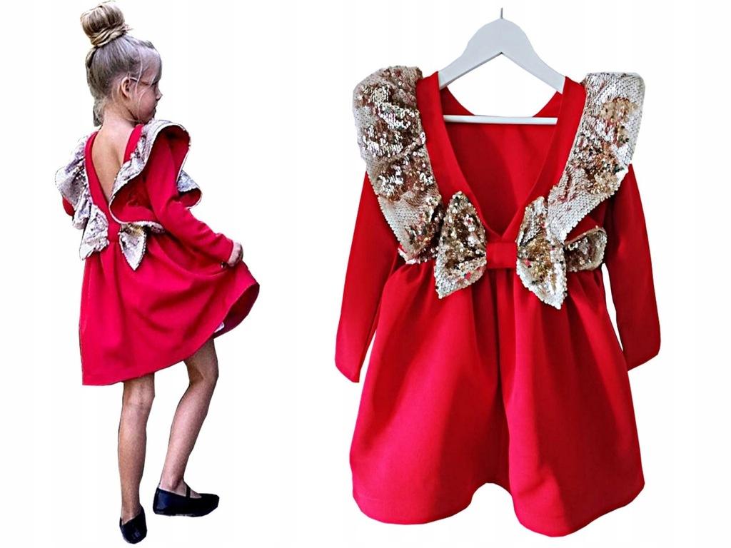 Elegancka sukienka ANGEL Magiczne Cekiny RED 98