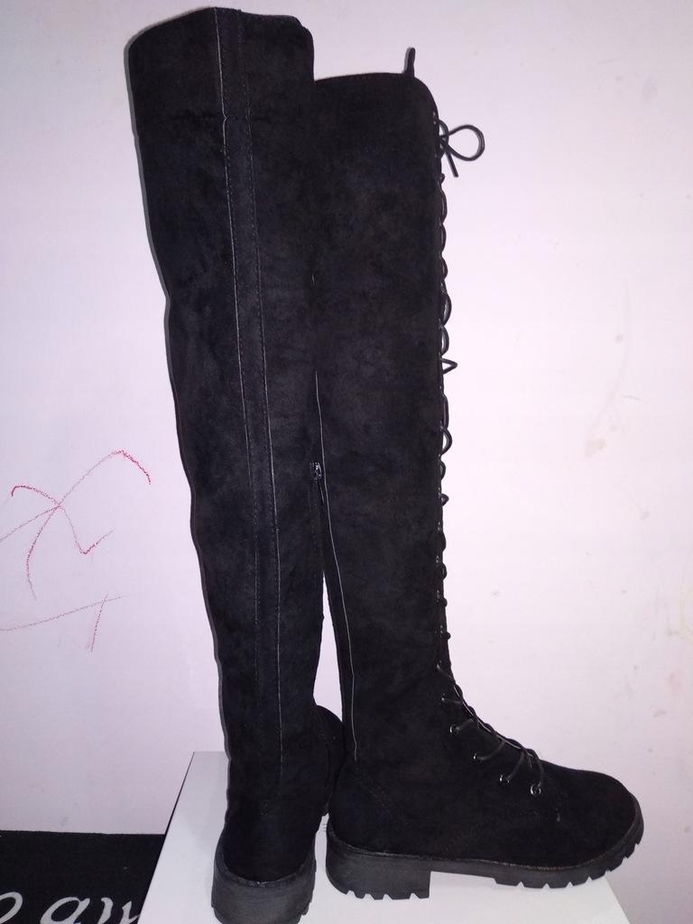 Kozaki wysokie za kolano szare Eve Fashion obuwie damskie
