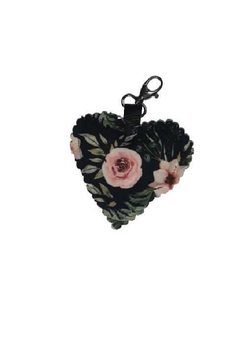 Brelok serce czarny kwiatowy