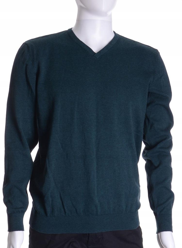 C&A sweter męski butelkowa zieleń BAWEŁNA XL