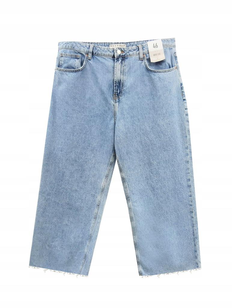 spodnie jeansy 46 szerokie nogawki 7/8 Atmosphere
