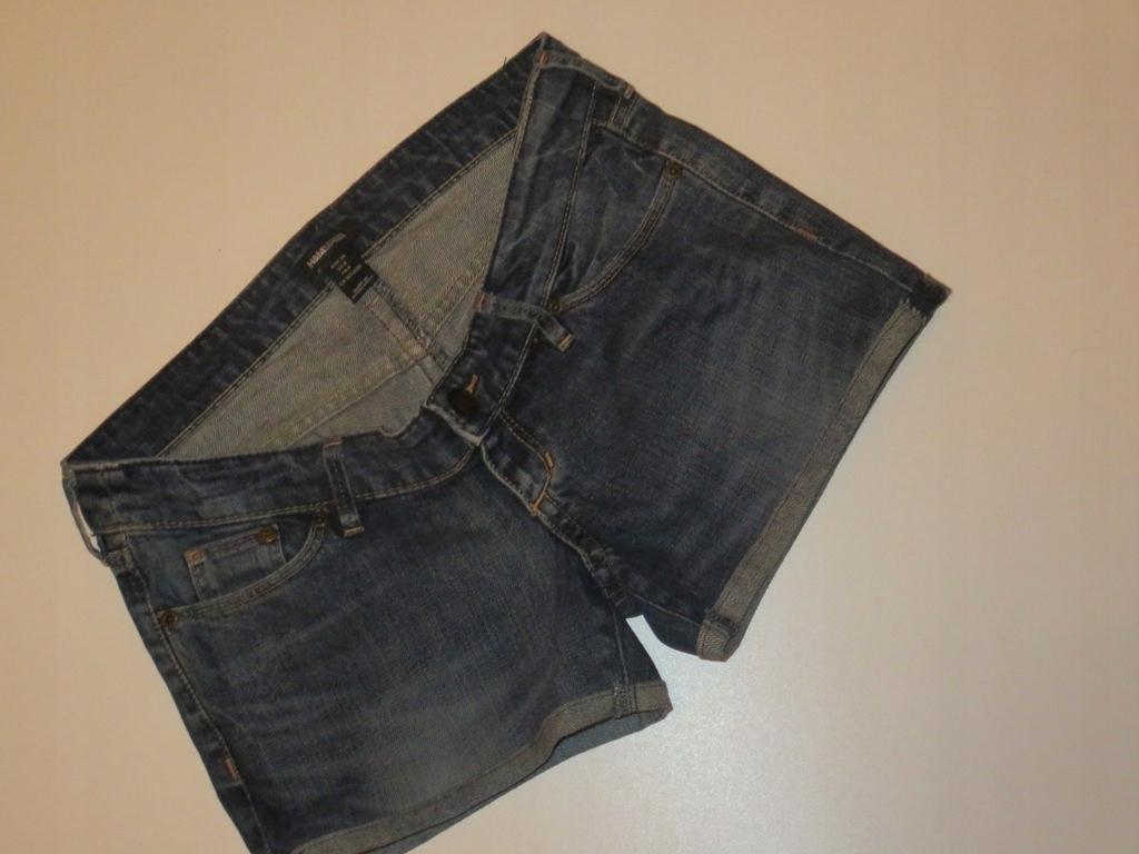 36 S Spodenki ciążowe bez panelu krótkie Jeansy