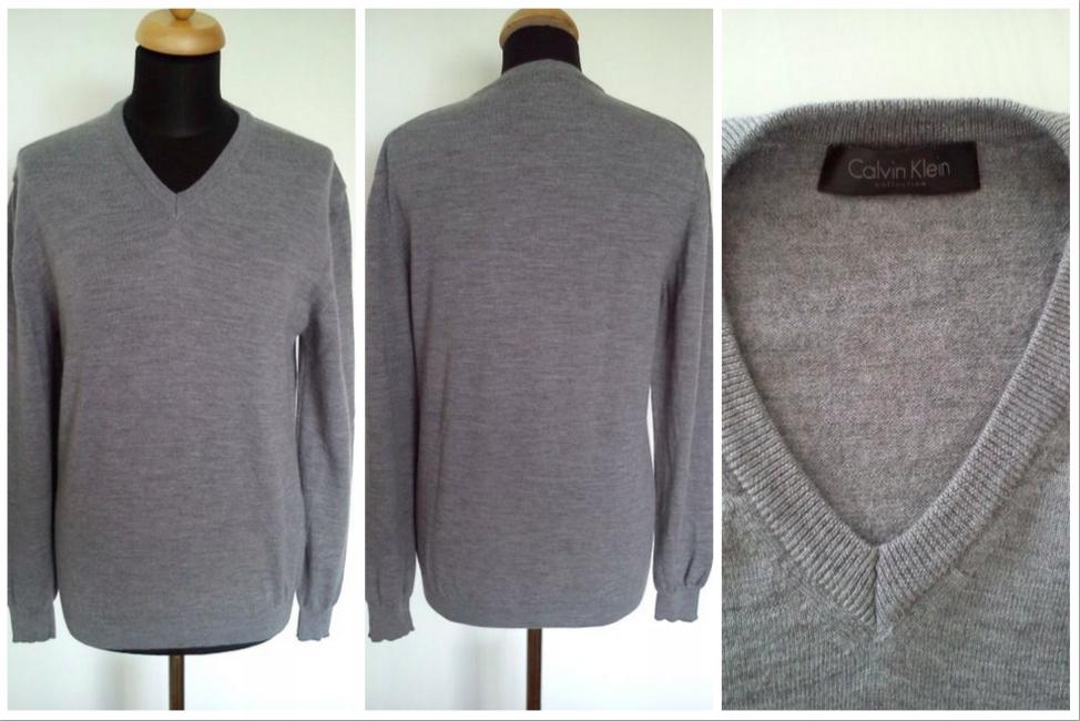CALVIN KLEIN sweter męski jak nowy - szary - L