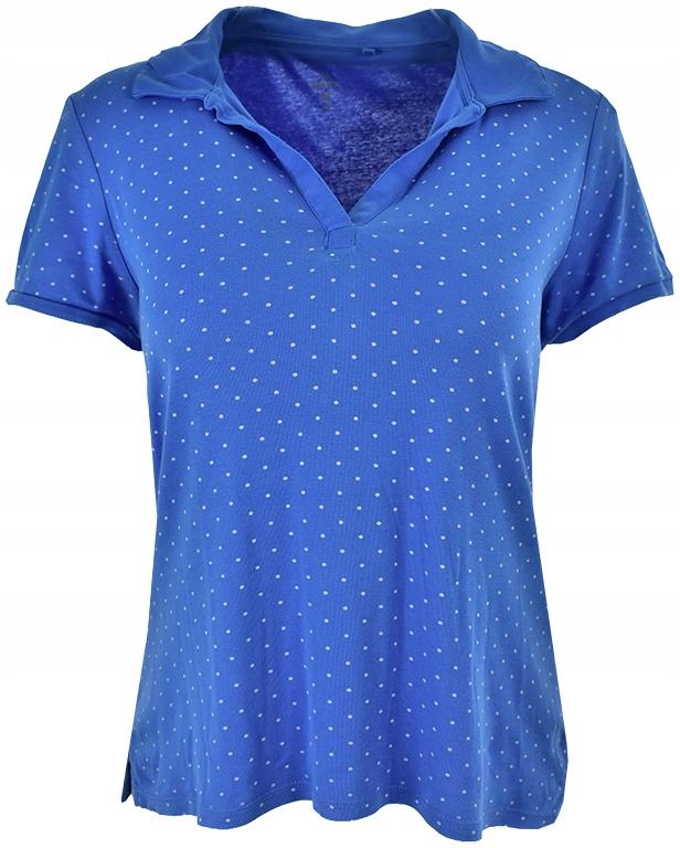gLL4408 niebieska koszulka polo w groszki 44