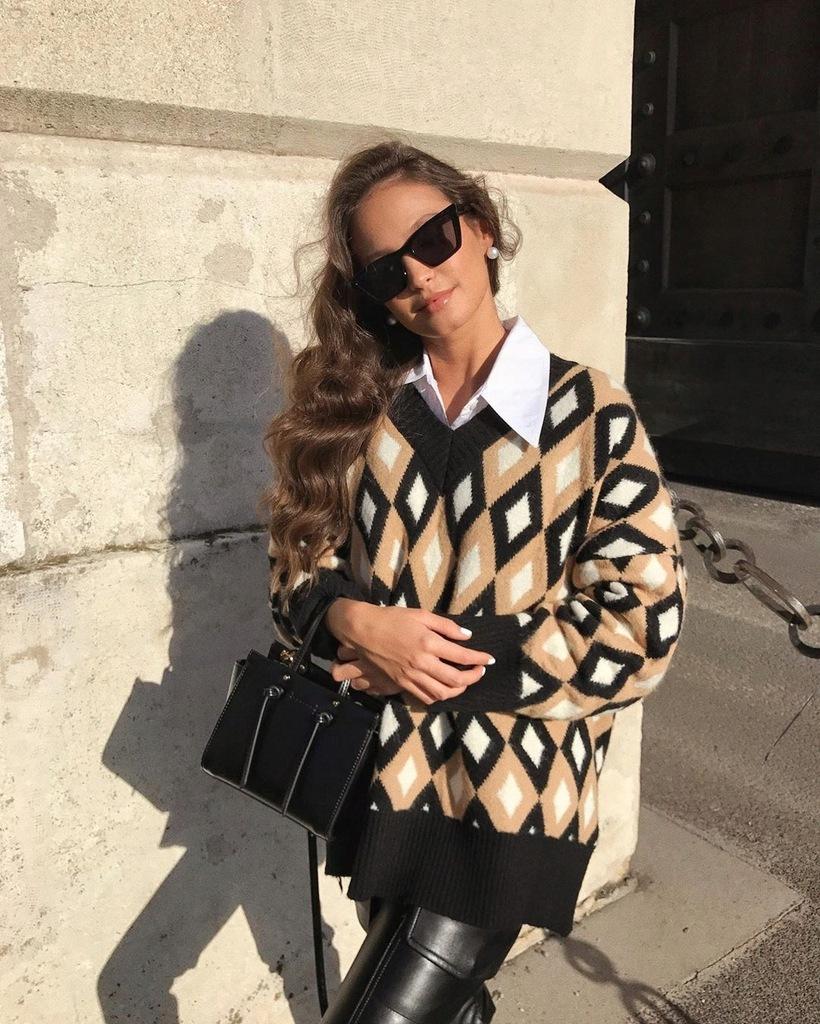 Zara sweter w romby 36 S